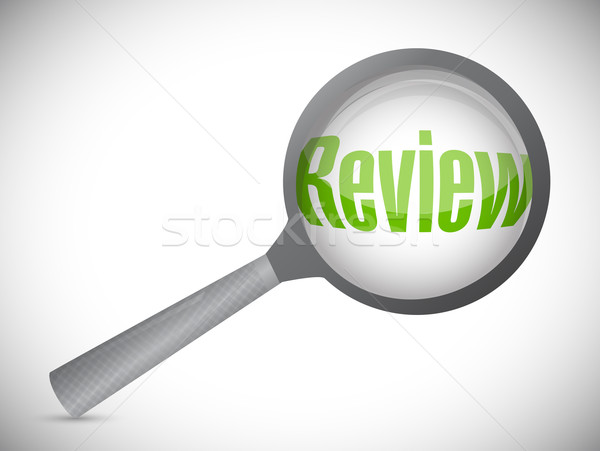 Magnifying glass showing review word on white background Stock photo © alexmillos