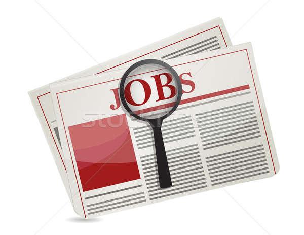Zoeken jobs krant illustratie ontwerp business Stockfoto © alexmillos