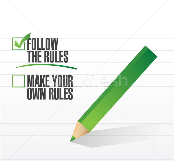 Follow the rules check of approval  Stock photo © alexmillos