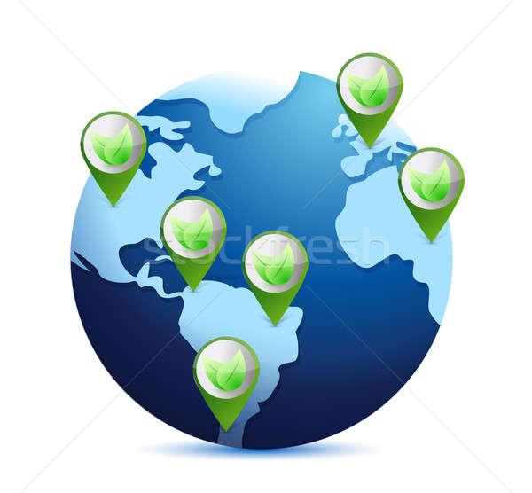 Foto stock: Mundo · hojas · eco · planeta · ilustración · agua