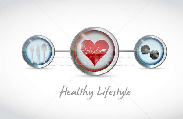 healthy lifestyle concept illustration design over a white backg Stock photo © alexmillos