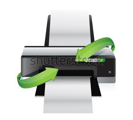 Imprimante cycle graphique illustration design blanche Photo stock © alexmillos