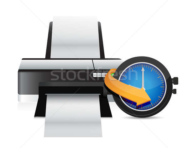 Printer timing horloge klok illustratie ontwerp Stockfoto © alexmillos