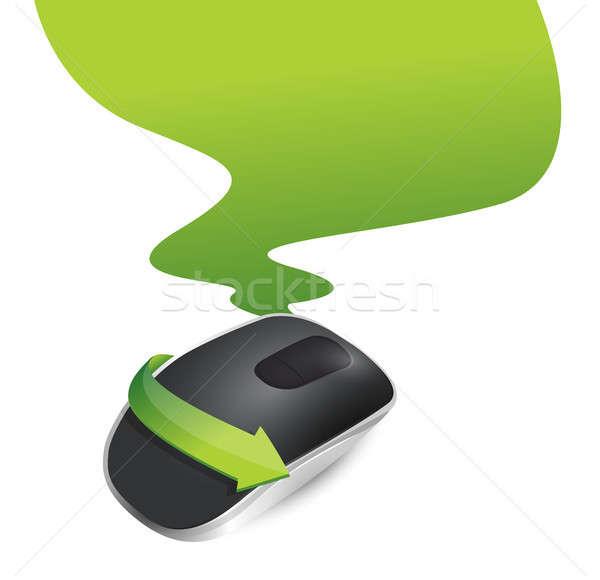 рисунок беспроводных Компьютерная мышь изолированный белый компьютер Сток-фото © alexmillos