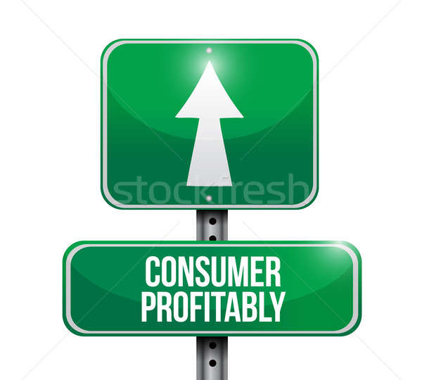 Consumatore redditività cartello stradale illustrazioni design bianco Foto d'archivio © alexmillos