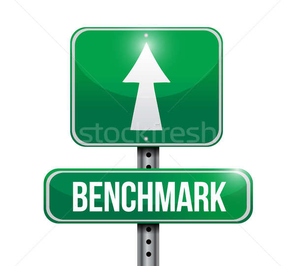 benchmark road sign illustration design Stock photo © alexmillos