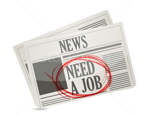 news. newspaper with a need a job sign. Stock photo © alexmillos