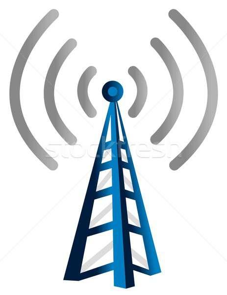 Blau Wireless-Technologie Turm isoliert weiß Wireless Stock foto © alexmillos