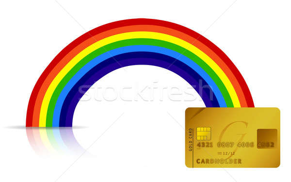 credit card at the end of the rainbow illustration design Stock photo © alexmillos