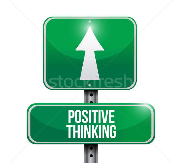 positive thinking road sign illustration design over a white bac Stock photo © alexmillos