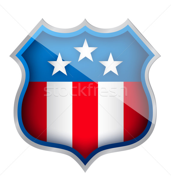 Stock photo: US patriotic security shield illustration design over white