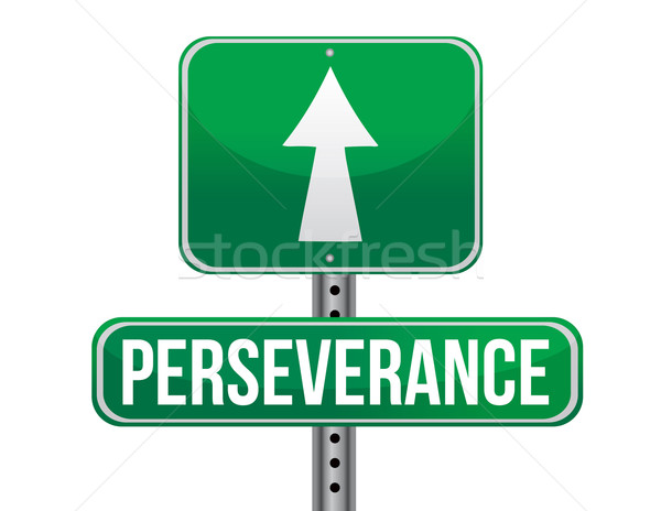 perseverance road sign illustration design over a white backgrou Stock photo © alexmillos