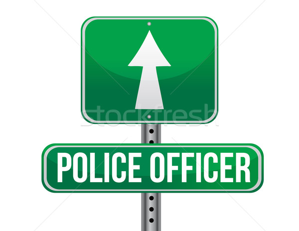 police officer road sign illustration design over a white backgr Stock photo © alexmillos