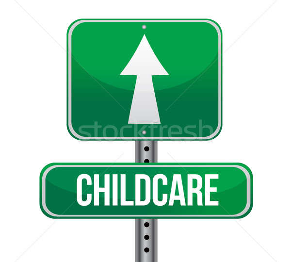 Stock photo: child care road sign illustration design over a white background