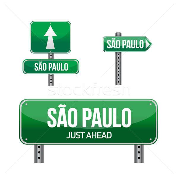 Sao Paulo város jelzőtábla illusztráció terv fehér Stock fotó © alexmillos