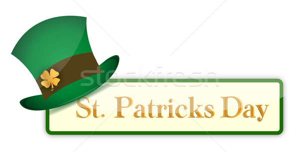 St. Patrick`s Day banners set with hat and clover illustration d Stock photo © alexmillos