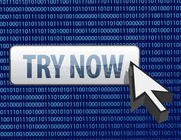 Binário agora botão cursor ilustração projeto Foto stock © alexmillos
