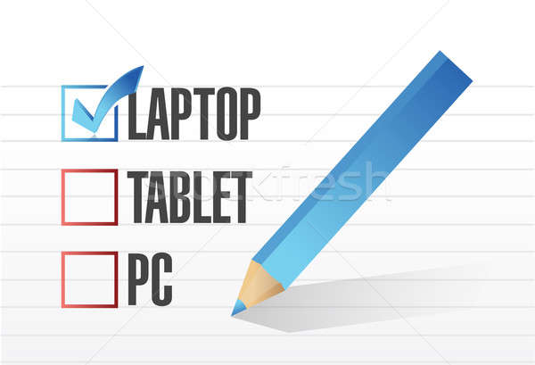 laptop checkbox selected over other technology tools. illustrati Stock photo © alexmillos
