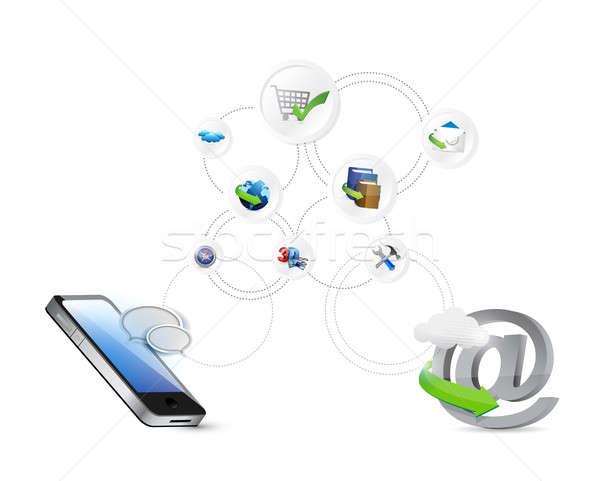 Online hálózat beállítások illusztráció terv kapcsolat Stock fotó © alexmillos
