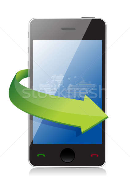 mobile phone with on the go arrow concept illustration design Stock photo © alexmillos