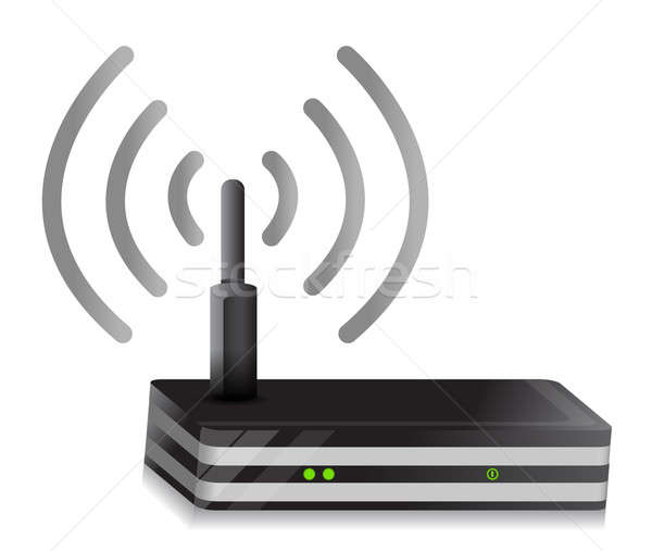 Wireless Router illustration wi-fi connection design over a whit Stock photo © alexmillos