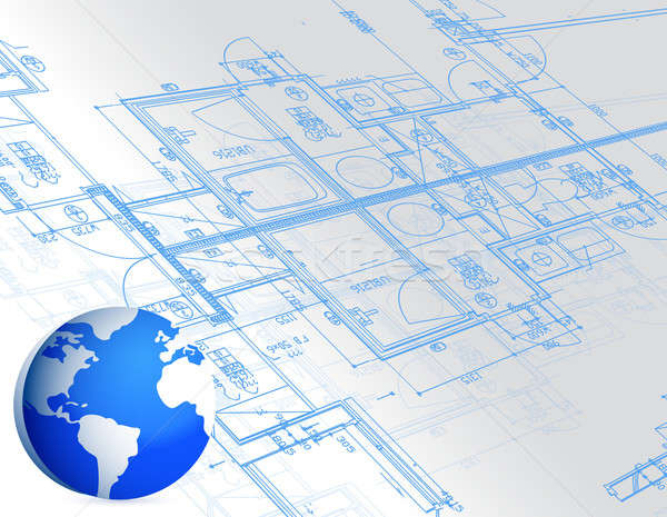 Blauwdruk wereldbol illustratie ontwerp gebouw bouw Stockfoto © alexmillos