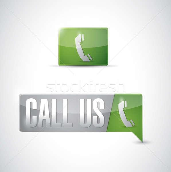 Call us pin pointer sign illustration design Stock photo © alexmillos