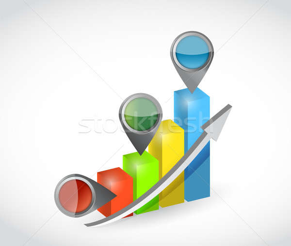 graph and pointers. illustration design over a white background Stock photo © alexmillos