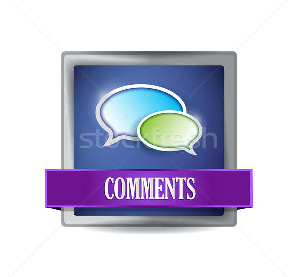 Commentaires bleu bouton illustration design signe Photo stock © alexmillos