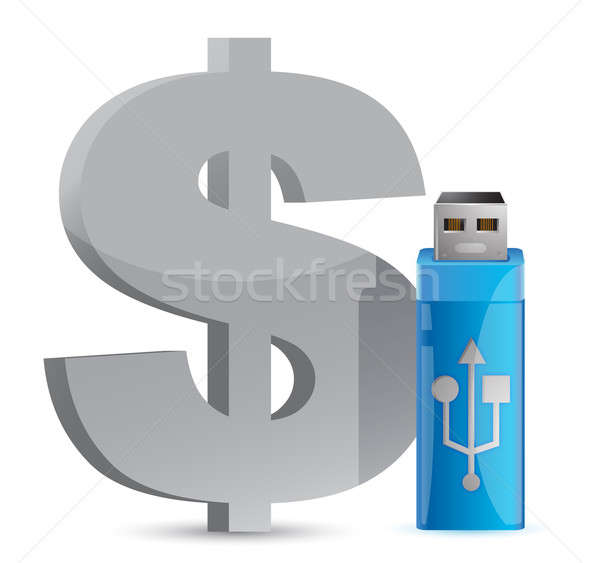 currency sign USB memory stick illustration graphic design Stock photo © alexmillos