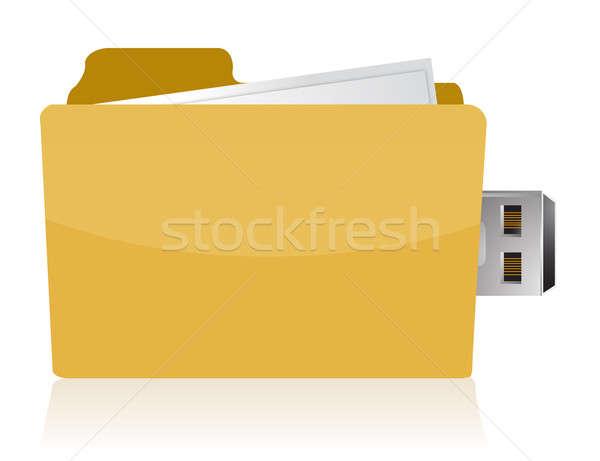 Sarı usb Klasör bilgisayar dizüstü bilgisayar yazılım Stok fotoğraf © alexmillos