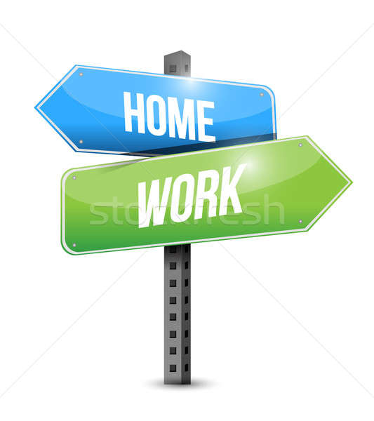 home and work road sign illustration design over a white backgro Stock photo © alexmillos