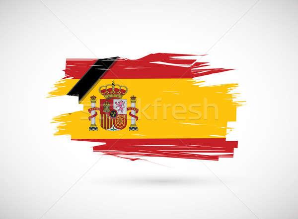 メモリ スペイン国旗 スペイン インク フラグ 白 ストックフォト © alexmillos