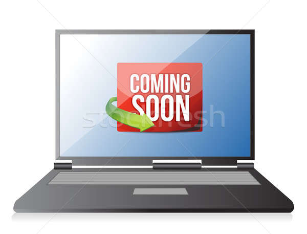 laptop Coming soon message illustration design Stock photo © alexmillos