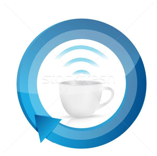 кофе wi-fi кружка цикл иллюстрация дизайна Сток-фото © alexmillos
