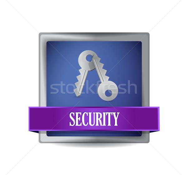 security blue square button illustration Stock photo © alexmillos