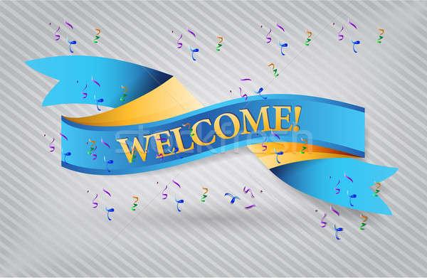 welcome blue waving ribbon banner illustration Stock photo © alexmillos