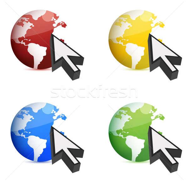 Illustraties aarde muis cursor computer internet Stockfoto © alexmillos