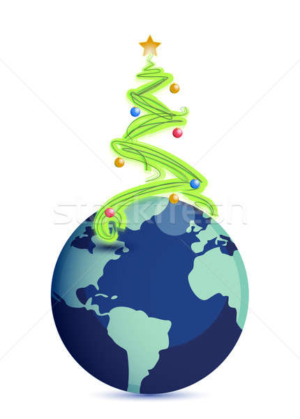 christmas tree in top of the globe Stock photo © alexmillos