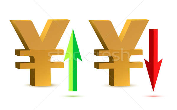 Raising and falling yen sign currency  Stock photo © alexmillos