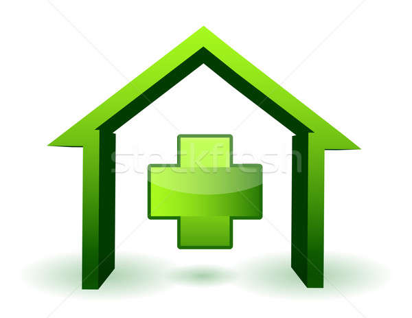 green health house and cross icon illustration design Stock photo © alexmillos