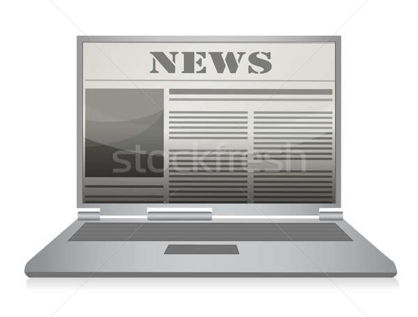 Online newspaper. Laptop and news website. Stock photo © alexmillos
