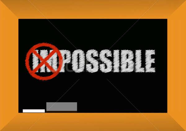 Lehetetlen lehetséges iskolatábla terv illusztráció fekete Stock fotó © alexmillos