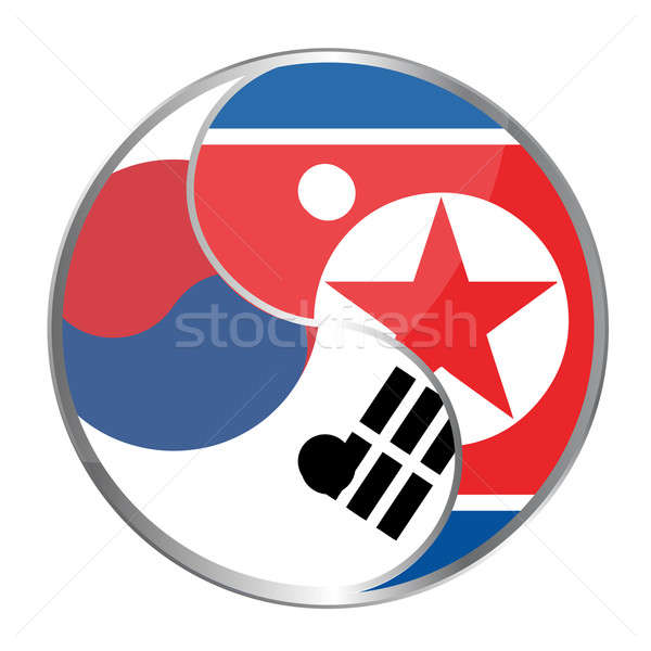 Ying yan symbol with the North Korea and South korea flags. Stock photo © alexmillos