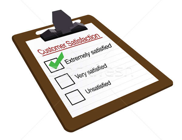 Customer Satisfaction clipboard survey isolated over a white bac Stock photo © alexmillos