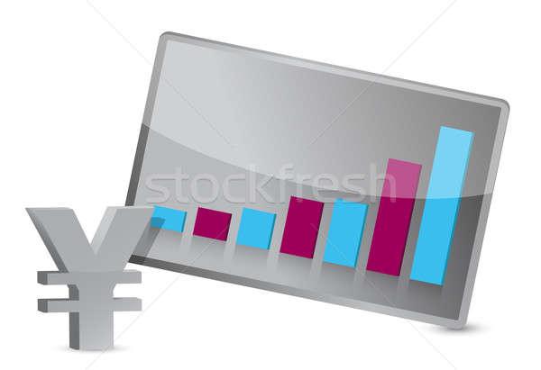 üzlet nő felfelé yen illusztráció pénzügy Stock fotó © alexmillos