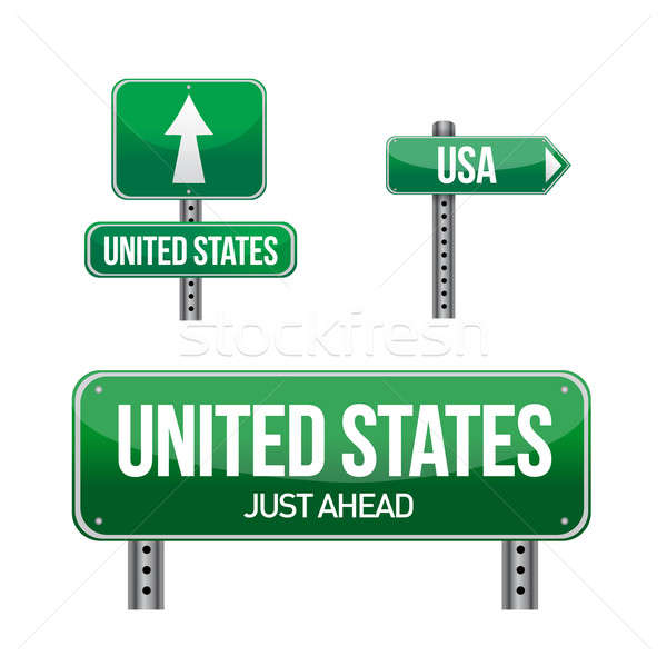 united states Country road sign illustration design over white Stock photo © alexmillos