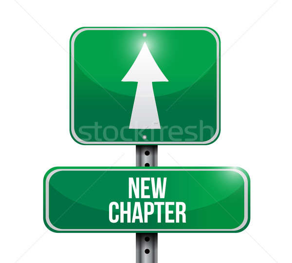 new chapter road sign illustration design over a white backgroun Stock photo © alexmillos