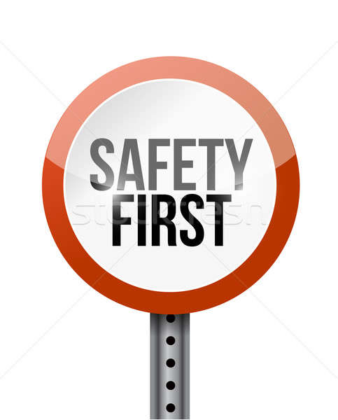 safety first road sign illustration design over a white backgrou Stock photo © alexmillos