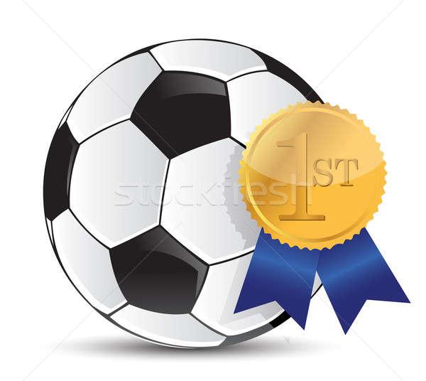 футбольным мячом награда иллюстрация дизайна белый Футбол Сток-фото © alexmillos